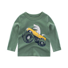 Kids TShirts Long Sleeve Boys 4 Styles Boutique Car Tshirts Clothes Clothing Child Dinosaur Print Costume Top Tees for Home