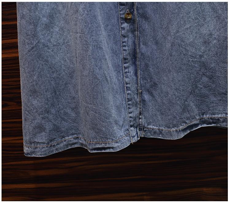L-5XL grande taille femmes Denim robe 2019 automne à manches longues Femme ample Patchwork robe 4XL grande taille décontracté bleu Denim robes - 6