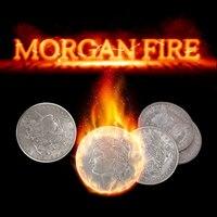 طقم النار مورغان (1 النار عملة + 3 مورغان عملات + 1 مورغان شل) الخدع السحرية المرحلة عن قرب لعبة للتحايل الدعائم عملة تظهر ماجيا