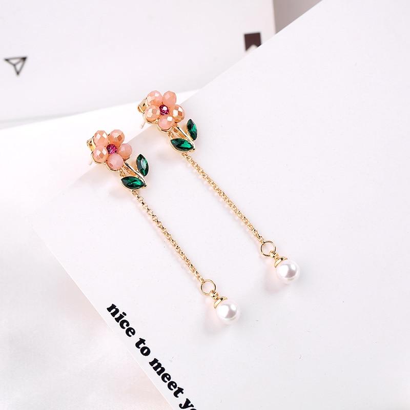 Fashion Classicla Long Korean Enamel Crystal Flower Earring For Women Handmade Fashion Gift