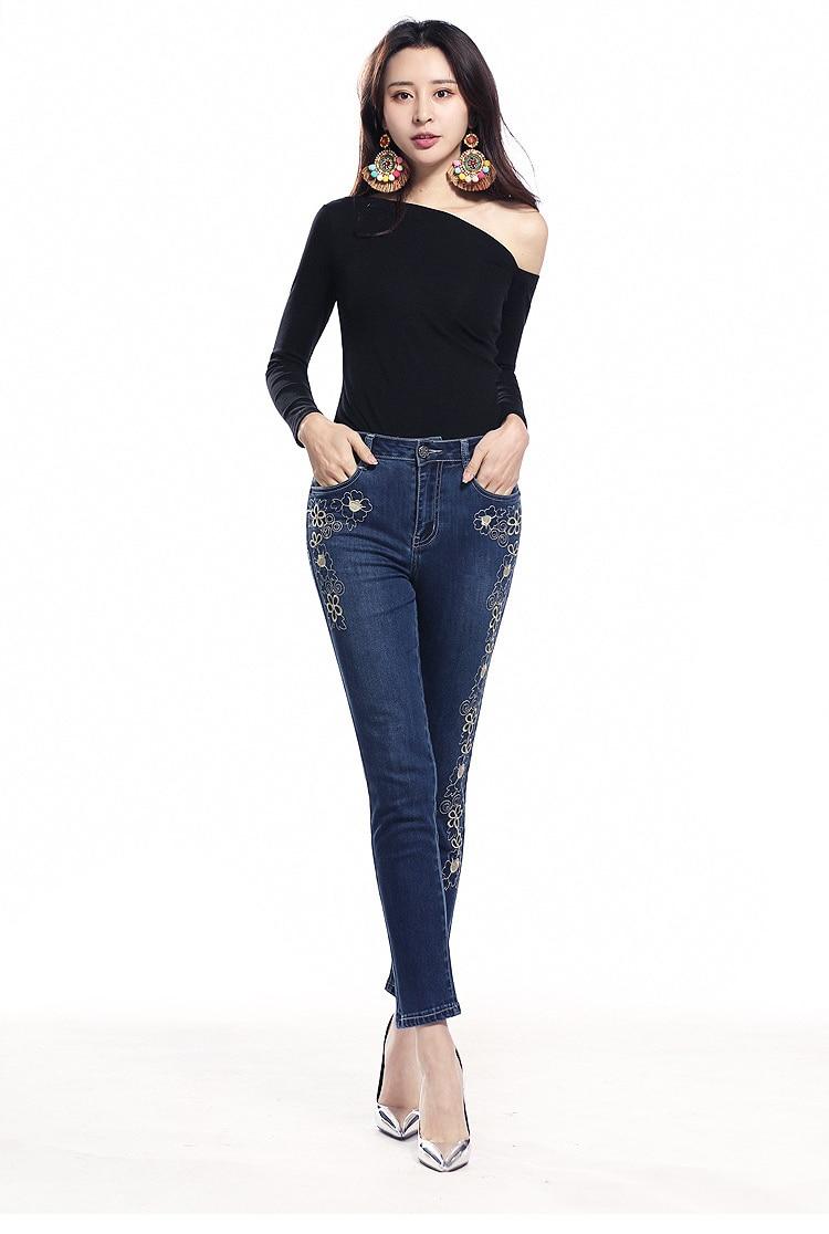 KSTUN FERZIGE women jeans dark blue stretch high waist slim fit side embroidered florals spring and summer cropped pants denim jeans 13