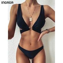 INGAGA 2021 siyah Bikinis mayolar çapraz bantlı mayo kadınlar katı şınav bikini mayo kadınlar seksi yastıklı plaj kıyafeti