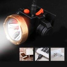 Мощные фары Водонепроницаемые светодиодные фары рыболовные огни наружные фары USB зарядка 2 файла Шахтерская лампа Рабочее освещение