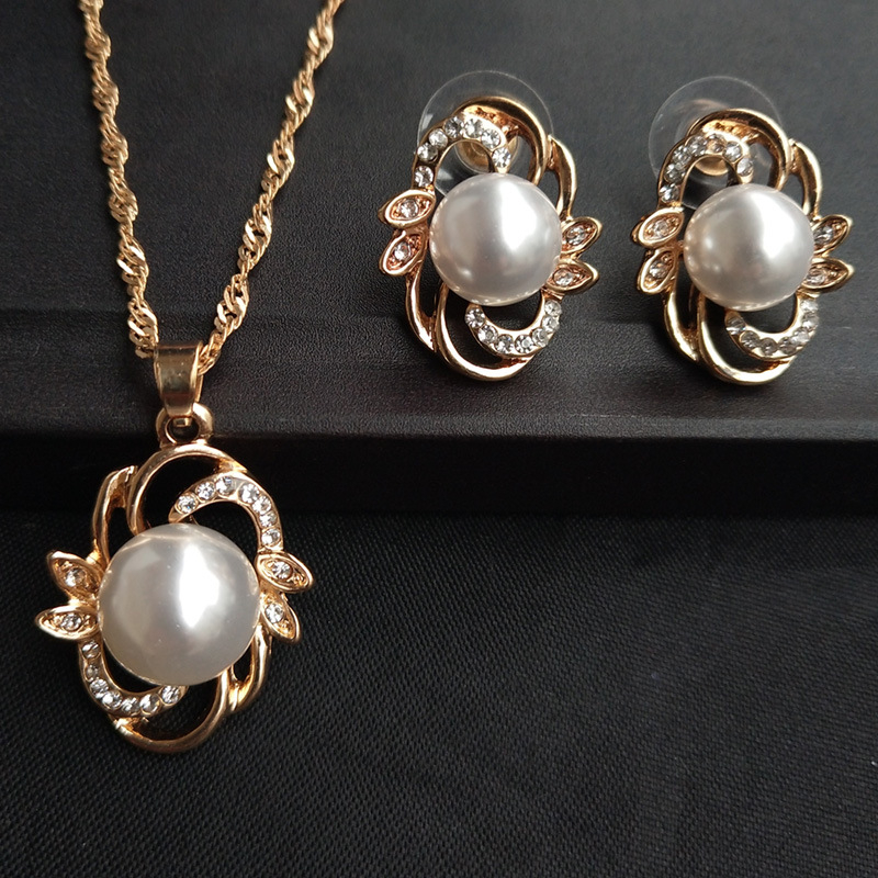 Simulated Pearl Jewelry Sets Fashion Gold Silver Color Geometric Crystal Choker Statement Necklace Earring Women Wedding Jewelry