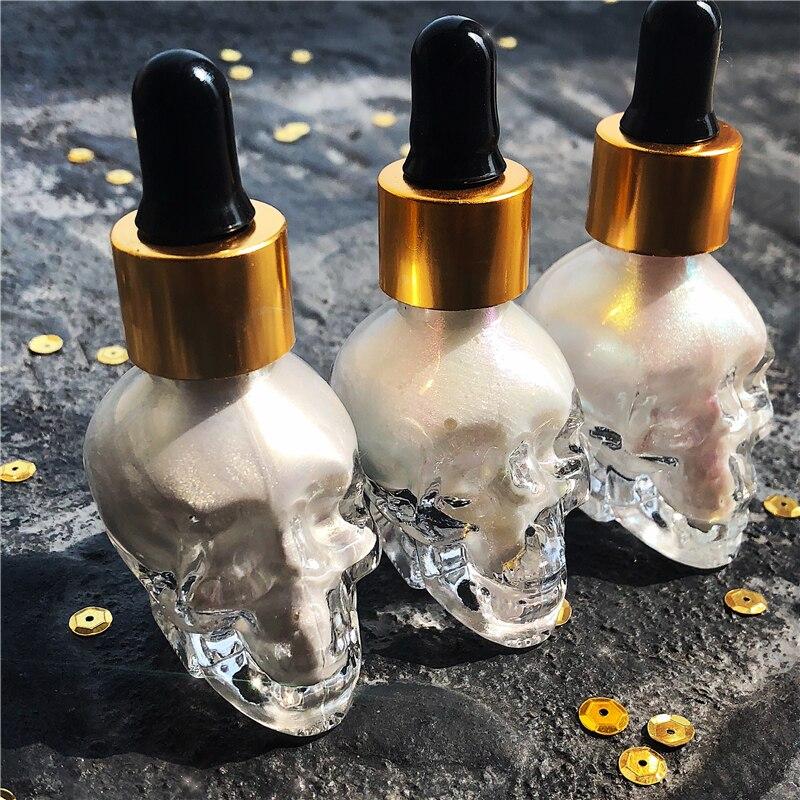 New Halloween Brilho Iluminador Maquiagem Shimmer Luz Ouro Prata Líquida Highlighter Highlighter Maquiagem Para O Rosto de Cosméticos Brilho