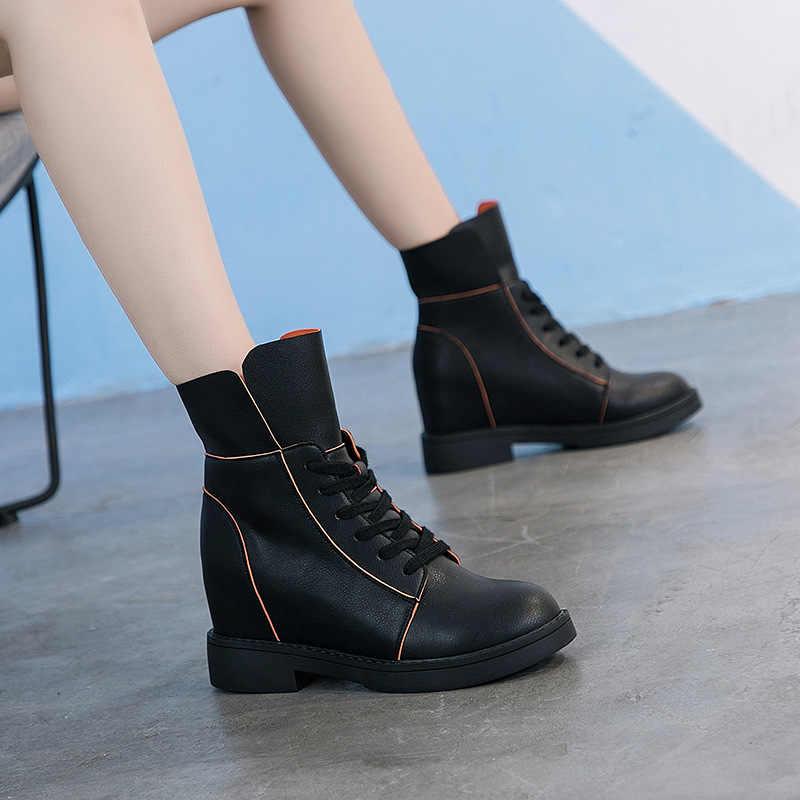 2019 ฤดูใบไม้ร่วงใหม่ Martin รองเท้าผู้หญิงแฟชั่นสีเรียบง่ายหนังสบายเพิ่มรองเท้าลำลอง