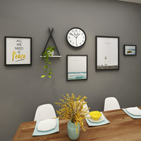 4pieces/set Black Photo Frame Combination Dinning Room Picture Frame Wall Art Decor Nordic Painting Picture Frame With Shelf New