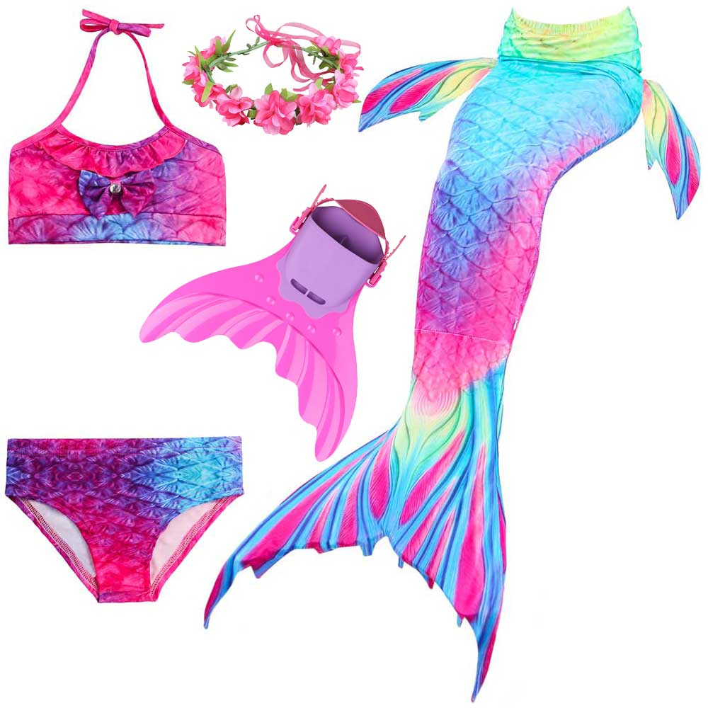 Girls Mermaid Tail For Swimming Cosplay Swimsuit Kid's Sparkle Mermaid Tails Swimmable Costume Swimwear Sets With Monofin