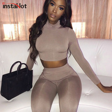 InstaHot Turtleneck Skinny Women Tracksuit Long Sleeve Crop Top and Elastic Legging Pants Autumn Two Piece Set Casual 2Piece Set instahot grey tracksuit reflective flash side zip buckle women two piece set autumn crop top cargo pants casual streetwear sets