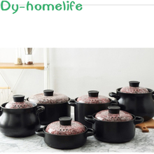 dmwd electric intelligent slow cookers mini timing water stewing soup porridge pots multifunctional ceramic whiteware liner 0 7l Marbling Ceramic Earthenware Pot Soup POY Household European-Style Stewing Pot High Temperature Resistant Open Flame Stew Pot