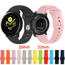20 22mm band pebble time samsung galaxy watch active 42 46 gear sport s2 s3 zenwatch 1 2 ticwatch e pro c2 neo live strap 20mm 22mm Silicone Watch Band For Samsung Galaxy Watch 42mm 46mm /Galaxy Watch Active Sport Strap For Samsung Gear S2 S3 Classic