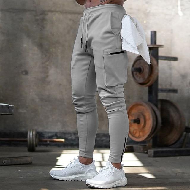 Joggers Men 2020 Streetwear Trousers Multiple Zipper Pockets Muscle Mens Pants , Sweatpants Tracksuit 20CK19