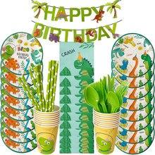 Dinozaur zaopatrzenie firm zestaw talerze papierowe Nakpins kubki jednorazowe zastawy stołowe zestaw Banner Dino balony Baby Show Boy dekoracja na urodziny