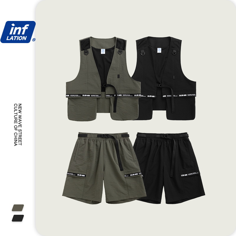 INFLATION Men Street Fashion Jersey Utility Gilet In Grey Black & Streetwear Loose Fit Men Shorter Shorts With Elastic Waist