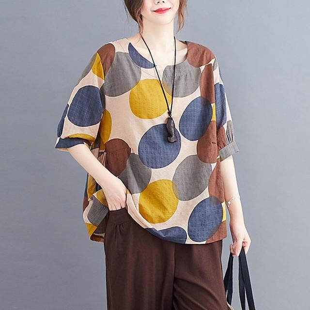 100% Cotton Oversized Shirt Women Summer Loose Casual Tops New 2020 Korean Style Polka Dot Print Woman Blouses Shirts P1027 1