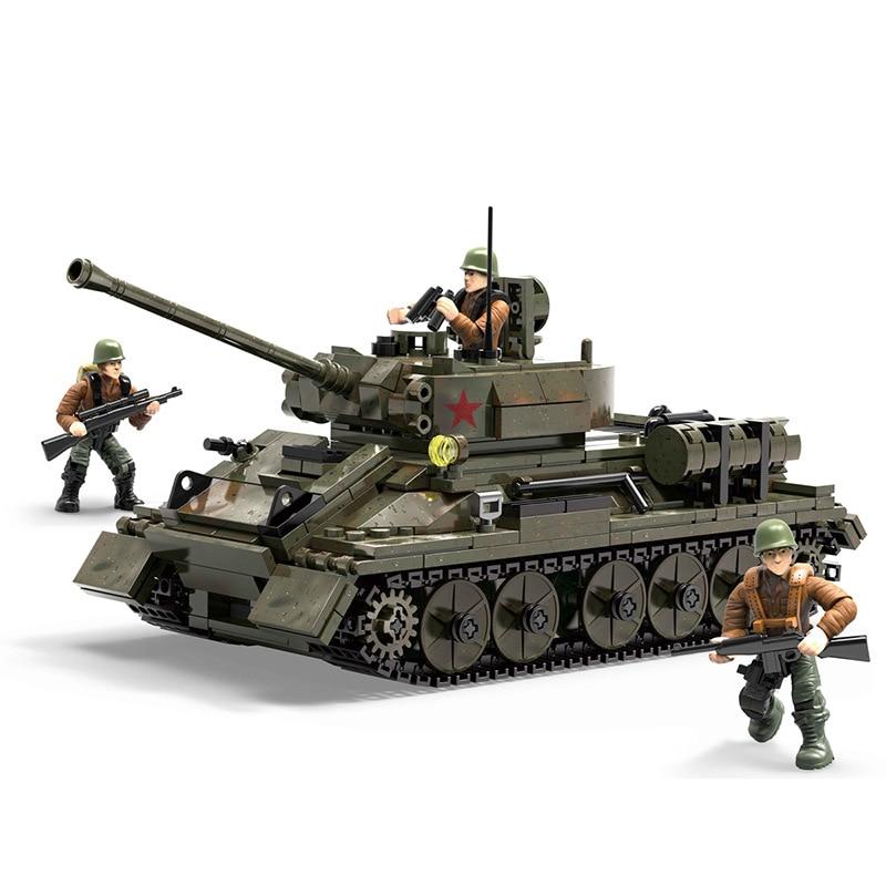XJ-915 medium tank series Soviet T34-85 assembled building block particles military model  boy toy