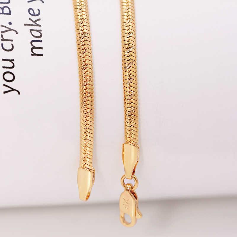 Mxgxفام (60 سنتيمتر * 3 مللي متر) ثعبان صغير سلسلة القلائد للرجال مجوهرات الأزياء لون الذهب 18 كيلو التطريز النيكل الحرة النحاس