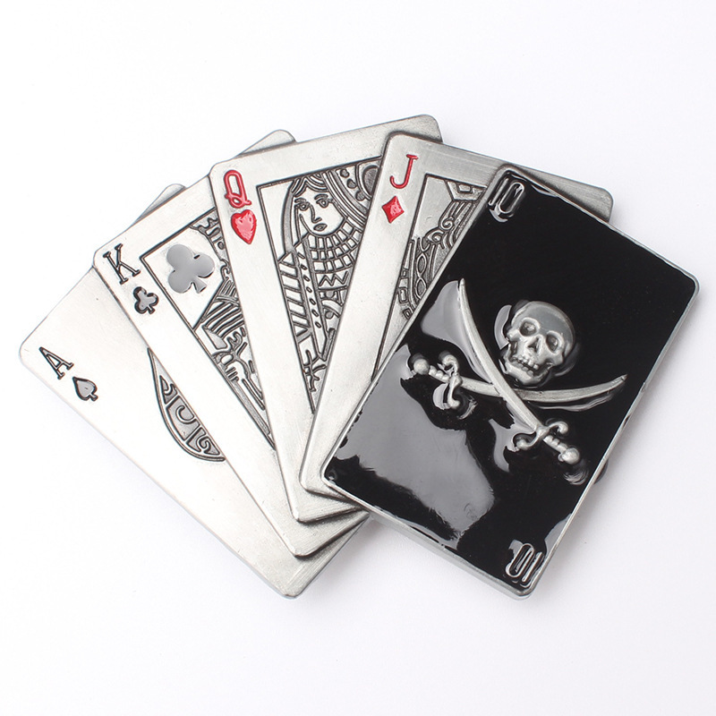 Poker Cards Skull Skeleton Belt Buckle Belt DIY Accessories Western Cowboy Style Smooth Belt Buckle Punk Rock Style K30