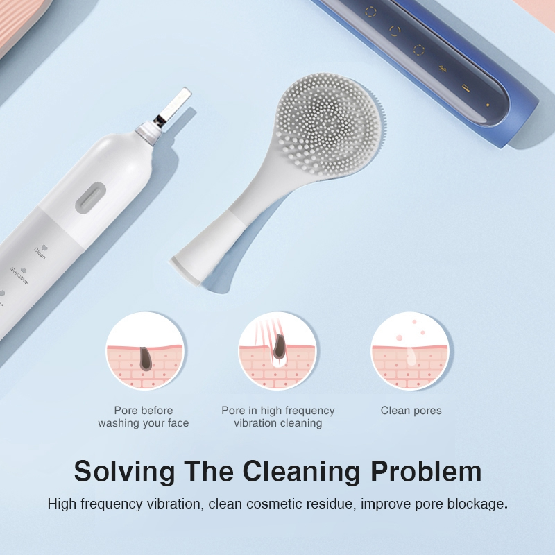 Multifunctional 2In1 Electric Toothbrush USB Charging Silicone Cleansing Brush Toothbrush Adults
