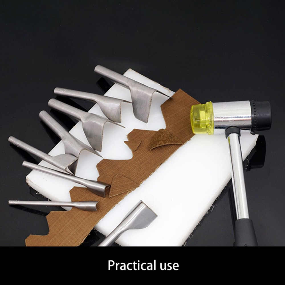 V-Cinto de Couro Em Forma De Ferramenta de Trabalho Manual DIY Rodada Soco Em Forma de Filé Com Cauda Corte Corte De Aço Durável de Couro DIY ferramenta