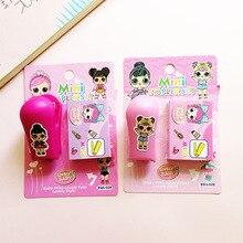 Мультяшная кукла степлер офисная прищепка канцелярские степлер скобы набор для детей девочка подарки для школы и офиса принадлежности