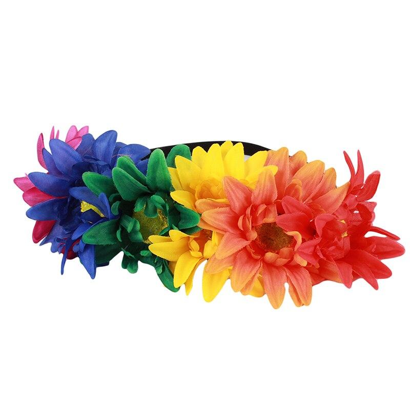 Лидер продаж женские Свадебные гирлянды Искусственные цветы вечерние Корона повязка на голову стрейч эластичный взрослый фотография