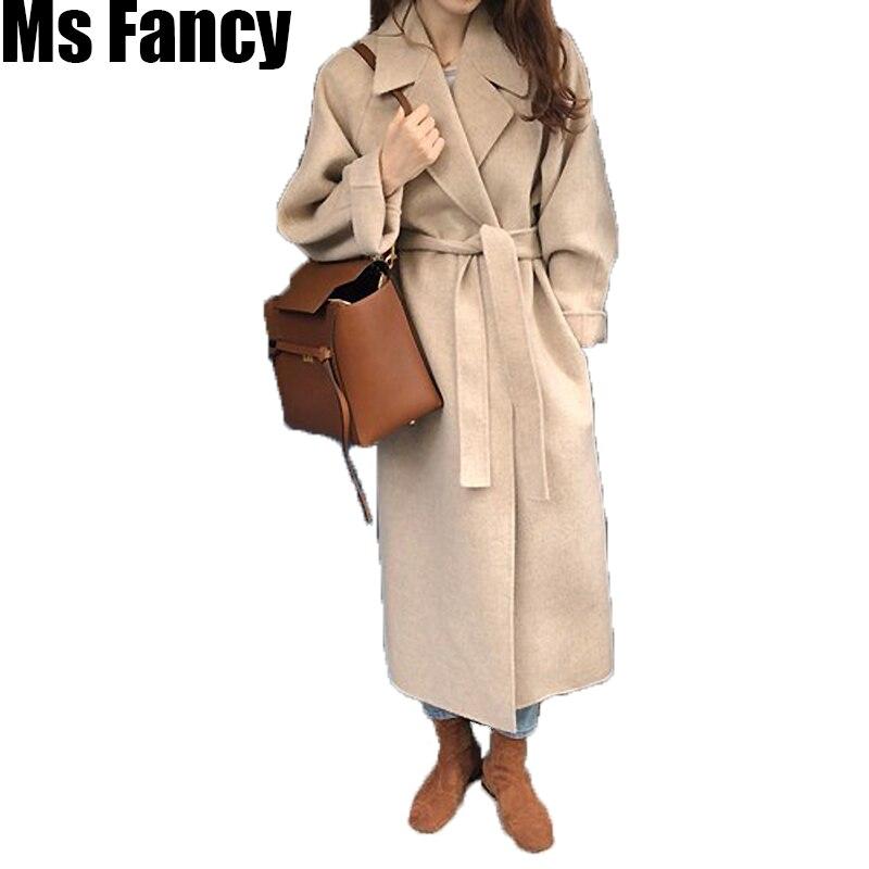 Automne hiver mode manteaux femmes laine manteau paresseux Oaf Long Chunky manteau chaud Style occidental lâche manteau à lacets