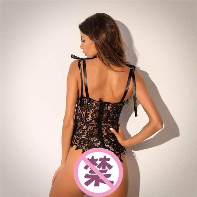2019 dentelle florale sexe vêtements Catsuit Porno salope femmes putain robe Transparent Lingerie body bébé poupée