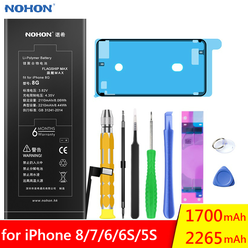 NOHON Original Battery For Apple iPhone 8 7 6 6S 5S 6G 7G High Capacity Replacement Phone Polymer Lithium Li-ion Bateria Batarya image