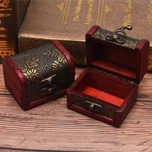 1pc antigo mini caixa de armazenamento de madeira caixa de jóias organizador caixa de presente