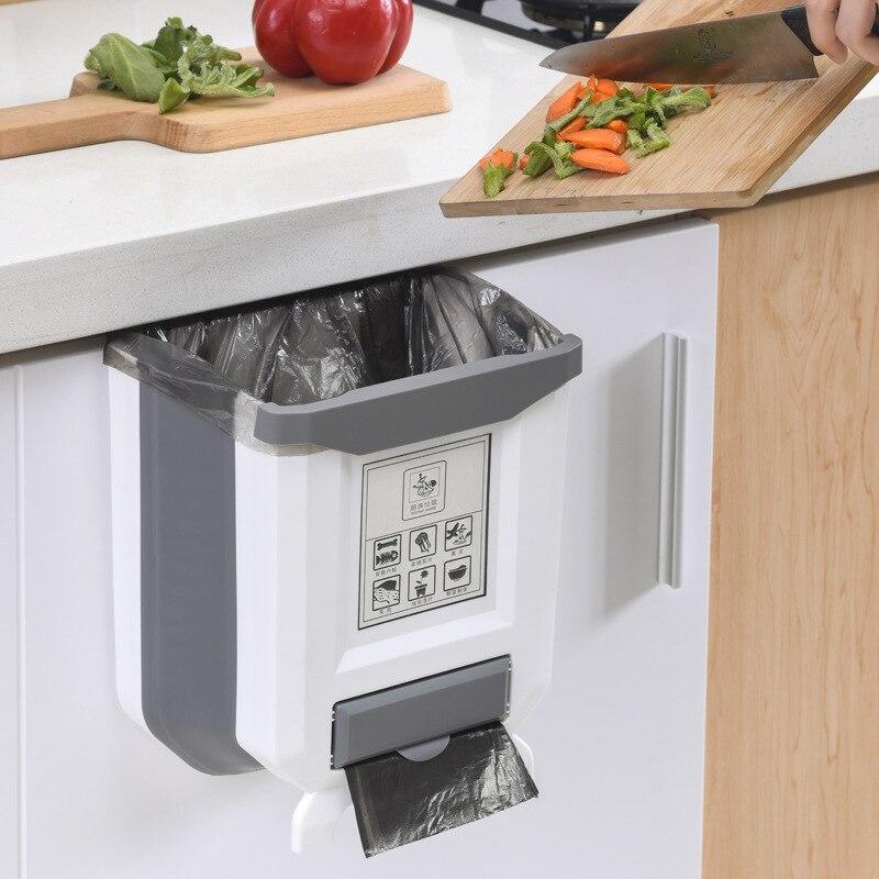 Cubos de basura para el hogar, colgador para puerta de armario, Cubo de almacenamiento de limpieza de cocina montado en la pared