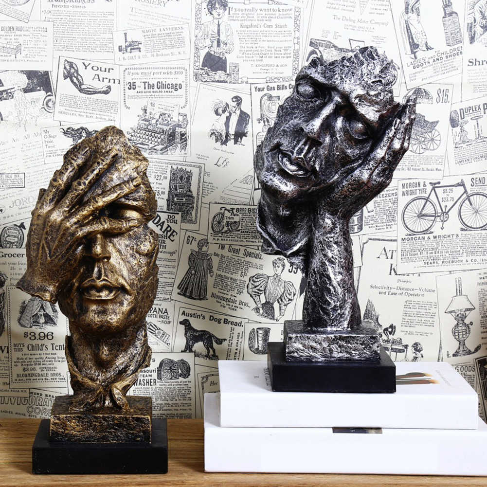 樹脂沈黙はゴールド抽象的な現代彫刻アート彫刻彫像装飾クラフト置物装飾ホームオフィスの装飾