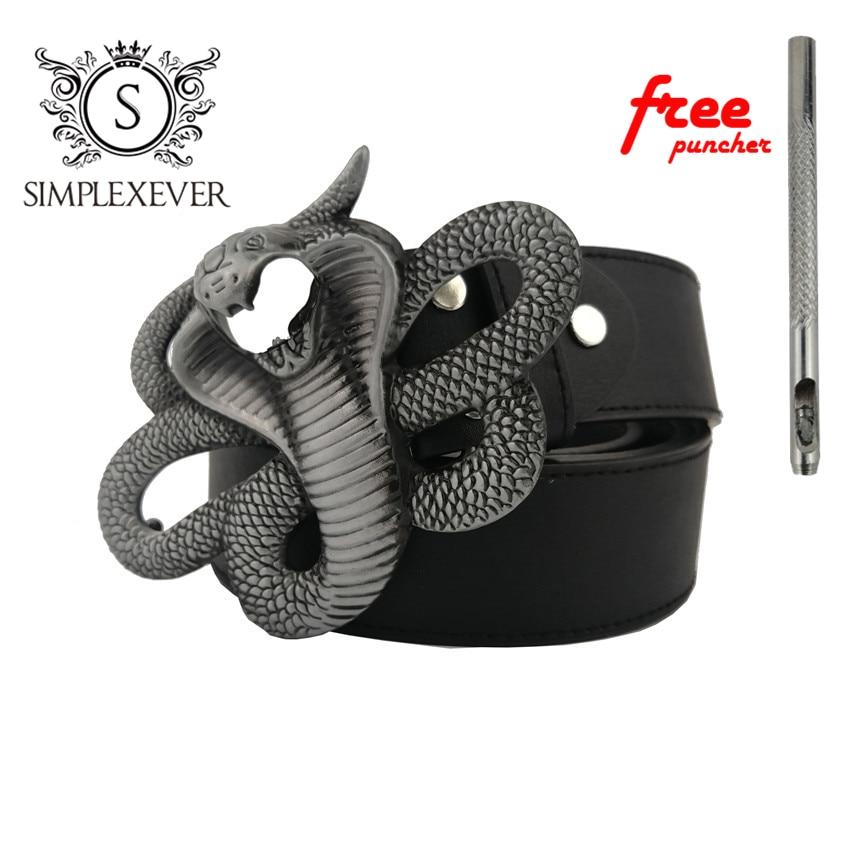 Cobra Design Metal Belt Buckle For Men Silver Belt Buckle With PU Belt As Father's Birthday Gift