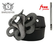 Cobra Design Metal Belt Buckle for Men Silver with PU As Father's Birthday Gift