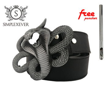 Cobra Design Metal Belt Buckle for Men Silver Belt Buckle with PU Belt As Father's Birthday Gift fashionable crocodile and letter z shape inlay design auto buckle belt for men