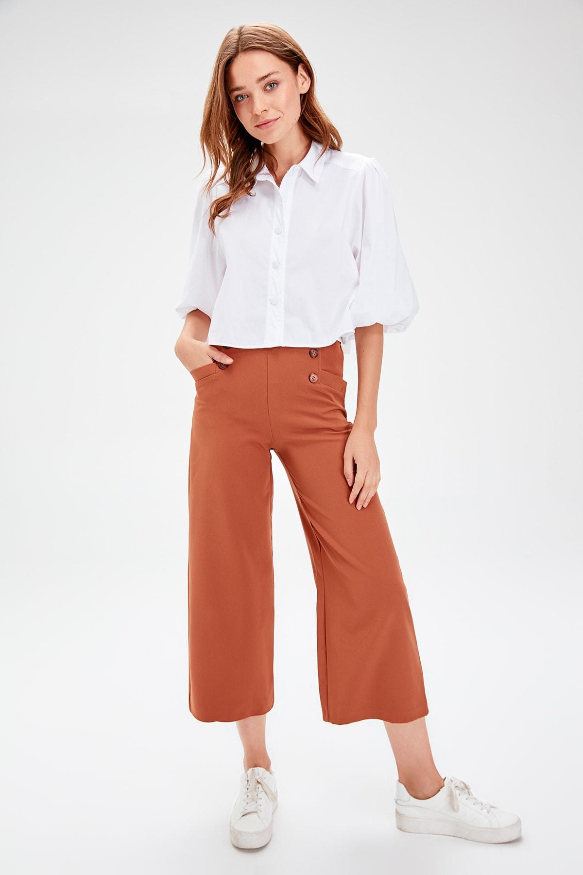 Trendyol Brown Plenty Of Bell-Bottomed Pants TWOAW20PL0028