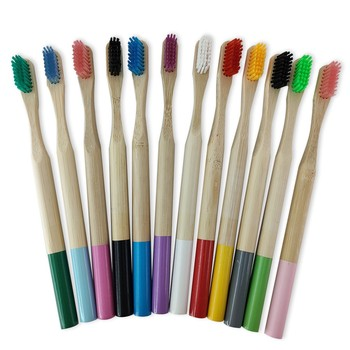Bamboo Toothbrush, Wooden ECO Friendly Toothbrush Made with Nylon Infused Soft Bristles Multicolor 12 Pcs