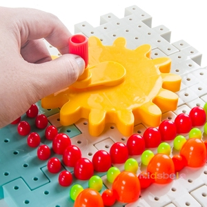 Image 2 - 키즈 3D 기어 블록 DIY 장난감 버섯 손톱 플라스틱 교육 완구 조립 빌딩 블록 키트 소년 소녀를위한 벽돌 장난감
