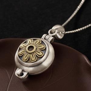 Image 3 - Echt 925 Sterling Silber Sonne Blume Medaillon Anhänger Vintage Öffnende Shurangama Mantra Anhänger Für Frauen 2018 Neuheiten