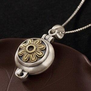Image 3 - Prawdziwe 925 srebro słonecznik wisiorek medalion Vintage otwierane Shurangama Mantra wisiorki dla kobiet 2018 nowości