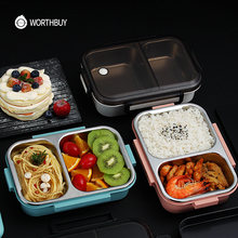 WORTHBUY New Japanese Lunch Box For Kids School 304 Stainless Steel Bento Lunch Box Leak-proof Food Container Children Food Box(China)