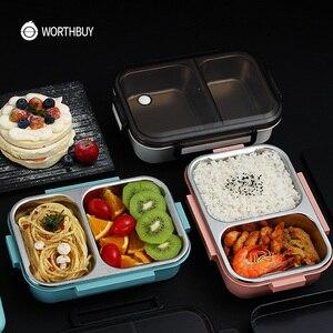 Image 2 - WORTHBUY nova lancheira japonesa para crianças escola 304 aço inoxidável bento lancheira à prova de vazamento recipiente de alimentos crianças caixa de comida