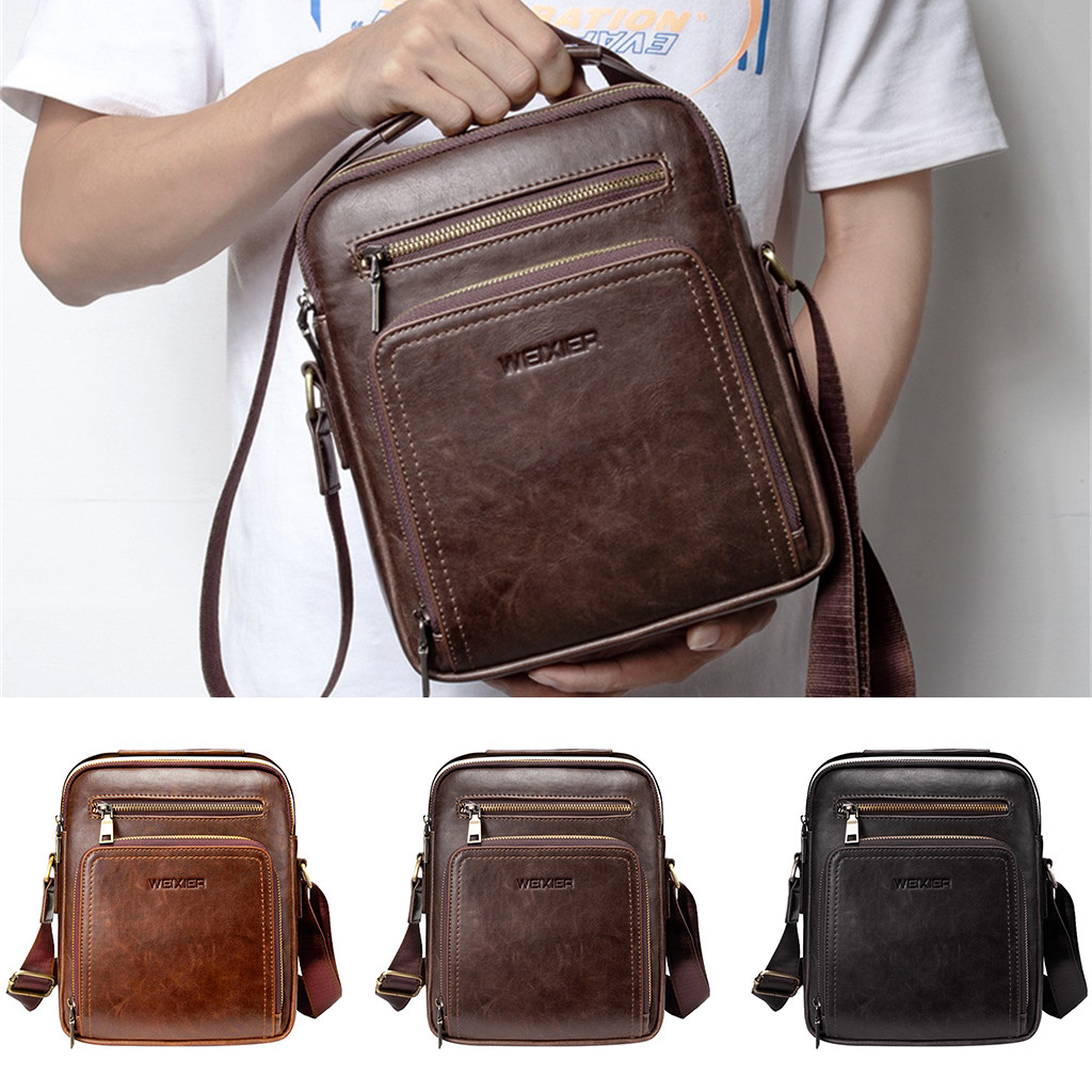 Color : Brown Shoulder Bag Outdoor Sports Men and Women Fashion Casual Travel Multifunction Bag 2 Color