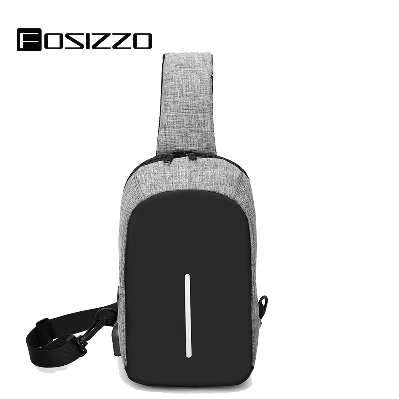 FOSIZZO Anti-thief Men's crossbody bag Waterproof Men Sling Chest Bag Fit 9.7 inch Ipad Fashion Men's bags FS4024