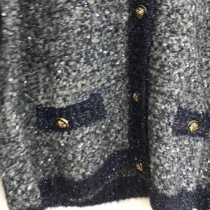 2020 가을 겨울 여성 니트 카디 건 우아한 Sequined Outwear 코트 슬림 맞는 여성 스웨터 단일 브레스트 포켓 스웨터