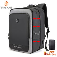 40L سعة كبيرة للرجال حقائب ظهر قابلة للتوسيع USB شحن الذكور 17 بوصة حقائب الكمبيوتر المحمول مقاوم للماء رجال الأعمال السفر Mochila