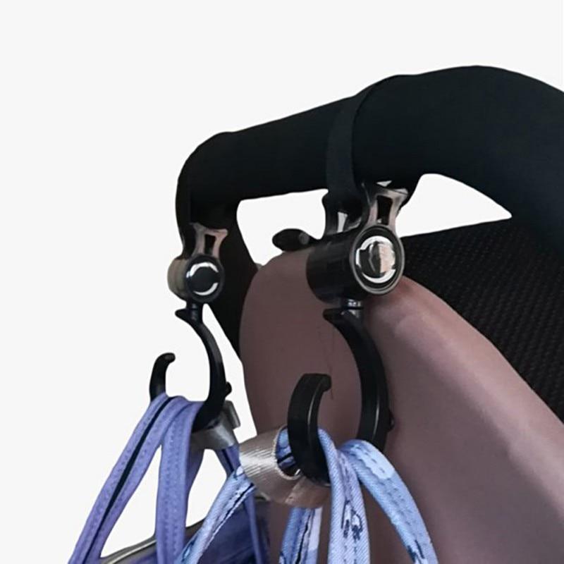 2pcs/Sets Baby Hanger Baby Bag Stroller Hooks Pram Rotate 360 Degree Cart Plastic Hook Accessories Baby Stroller Accessories