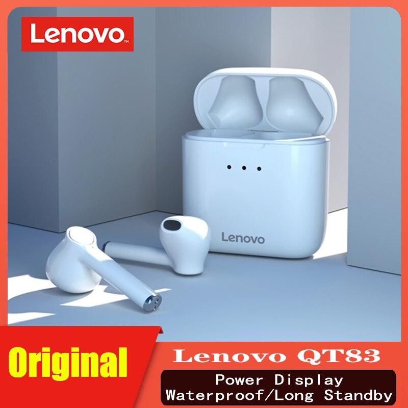 Écouteurs sans fil dorigine Lenovo QT83 écouteurs Bluetooth double stéréo écouteurs de basse étanche Sport avec micro pour Android/IOS