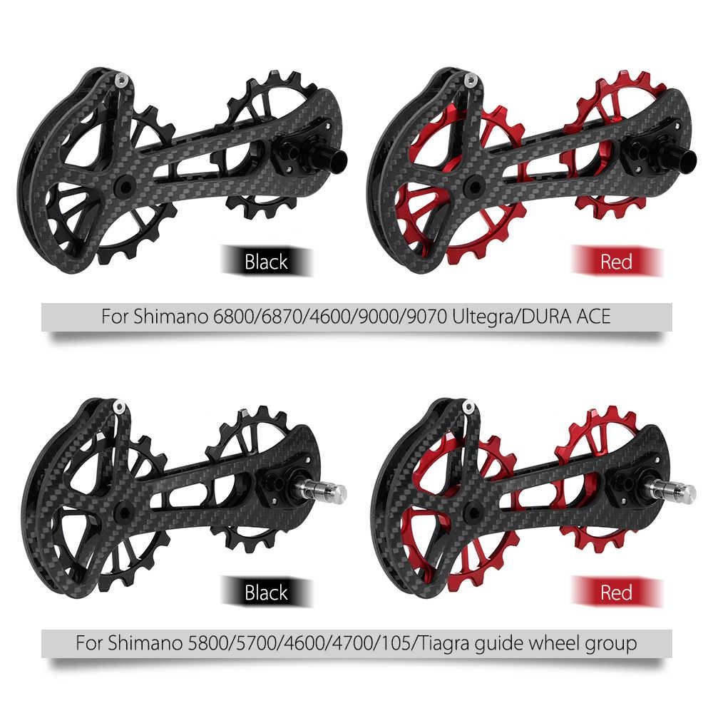 16T bicicleta de cerámica cojinete de la rueda de la polea del Jockey juego de fibra CNC de los descarriladores traseros guía para Shimano 6800/6870/4600/9000/9070
