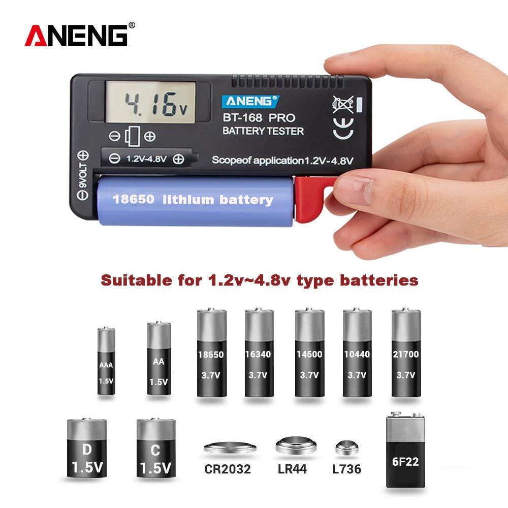 ANENG-Probador de baterías de litio digital, herramienta de diagnóstico de capacidad de batería, pantalla LCD de comprobación AAA AA, botón probador universal de batería, AN-168